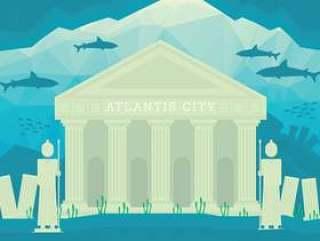 亚特兰提斯城市例证