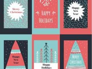手绘圣诞贺卡矢量包