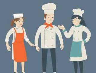 3个厨师矢量