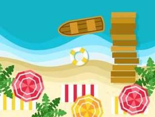 在顶视图传染媒介的夏天海滩