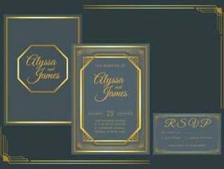海军黄金装饰艺术婚礼邀请矢量模板
