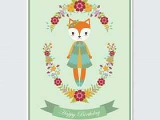 花圈上可爱的狐狸女孩适合生日贺卡