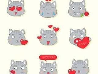 情人节的可爱猫咪表情