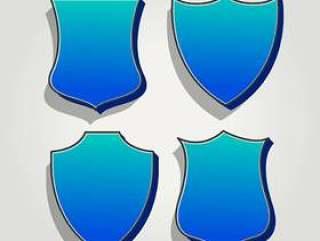 3d蓝色套的徽章和标签