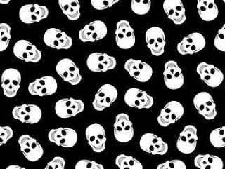 无缝的在黑背景的样式白色头 骨