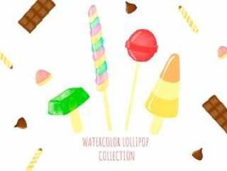 可爱的棒棒糖糖果周围