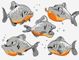 狂野的愤怒的食人鱼手绘卡通矢量图