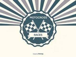 复古摩托车越野赛的插图