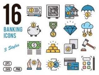 16银行矢量图标的移动,web,演示文稿和打印项目!,16银行图标