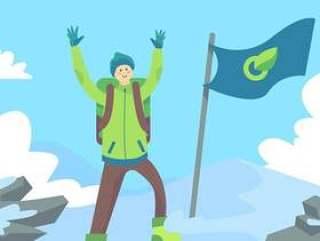 马特洪峰高峰传染媒介的登山人
