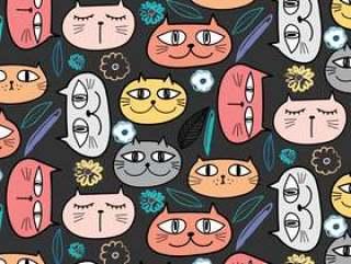 可爱的猫咪图案背景。