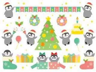 可爱的钢笔的圣诞晚会