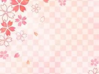 樱桃树_格子粉红色背景_垂直类型1588