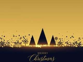 金色圣诞树节日背景