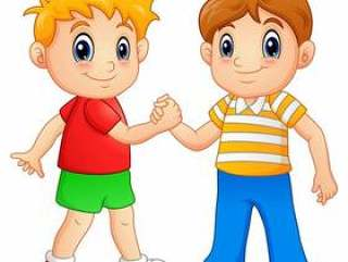 动画片握手的小男孩的传染媒介例证
