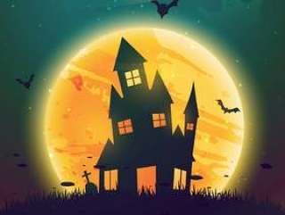 闹鬼的房子在月亮前面万圣节