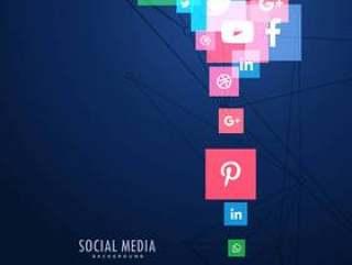 社交媒体图标在蓝色背景中