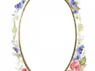 椭圆形的镜子,花架1 - 美丽的粉红色的玫瑰