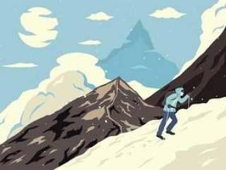 登山者海报例证传染媒介