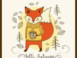 与杯子卡片的逗人喜爱的手拉的乱画狐狸。你好秋天