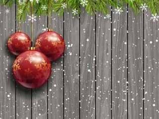 在一个木制的背景上的圣诞小玩意