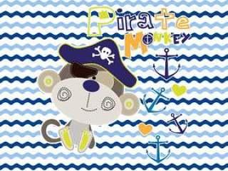 海盗猴子孩子的设计传染媒介