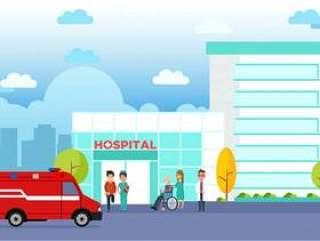 现代医院建筑平面向量