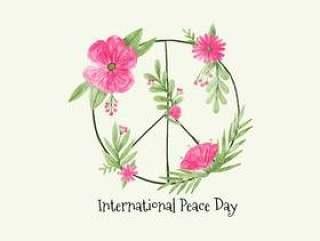 矢量水彩符号和平与花为和平的一天