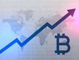 比特币货币矢量设计的向上增长图表