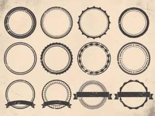 复古标签圆形状