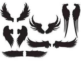 剪影天使的翅膀