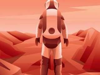 火星探险宇航员矢量