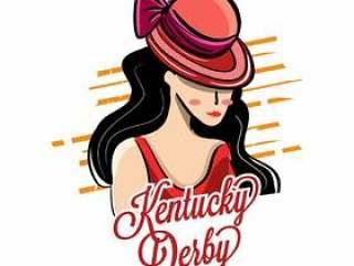 有美好的女孩例证的肯塔基德比帽子