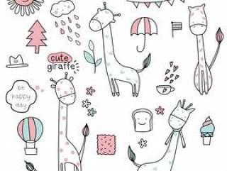 逗人喜爱的小长颈鹿无缝的样式
