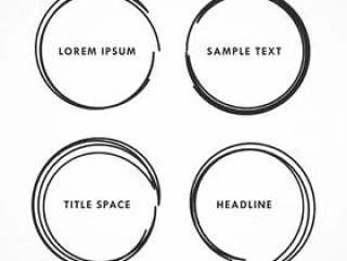 四个抽象手绘制的圆形框架