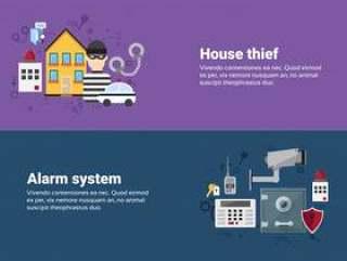 警报偷窃安全保护保险网横幅平的传染媒介例证