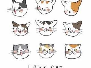 设置可爱猫咪的画情感脸