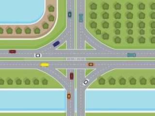 高速公路顶视图矢量
