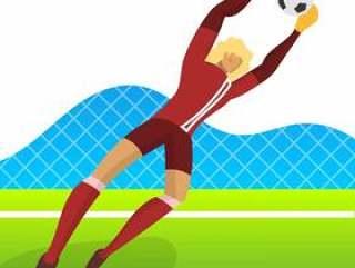 世界杯2018年的现代极简主义冰岛足球运动员守门员抓住球与渐变背景矢量图