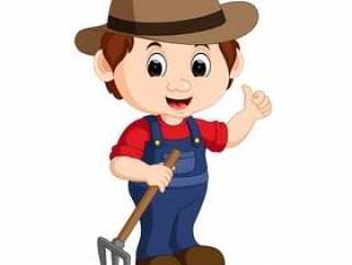 卡通年轻农民拿着耙子