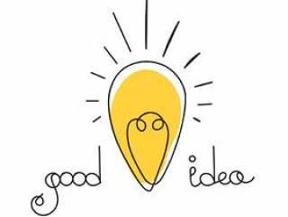 想法例证。灯泡设计。矢量商业图标。