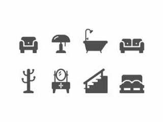家具和家居装饰设置图标