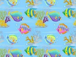 五颜六色的海鱼无缝的样式