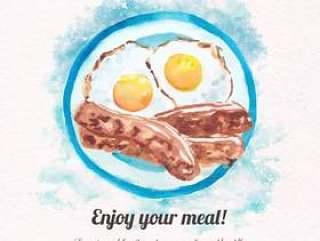 煎蛋和香肠早餐
