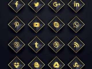 社交媒体图标包装在钻石形状中