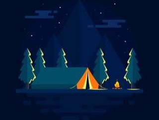 在山传染媒介的夜晚野营