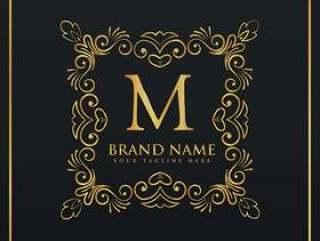 字母M的花卉装饰框架边界会标商标
