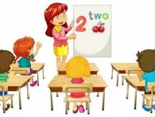 数学老师在课堂上教孩子们