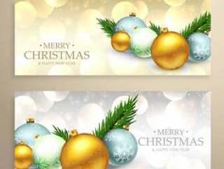 圣诞节横幅设置与现实圣诞球