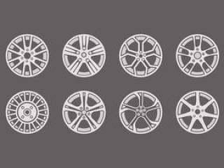 运动铝合金车轮图标矢量